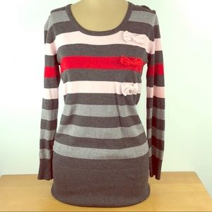 Love Moschino 🎀 Grey Striped Bow Sweater Top
